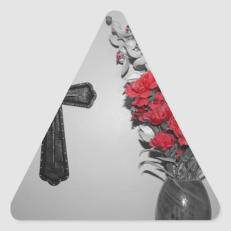 Religion cross flowers triangle sticker
