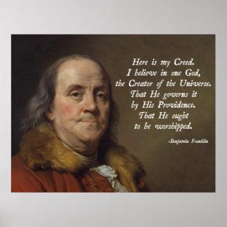 Religión de Benjamin Franklin Póster