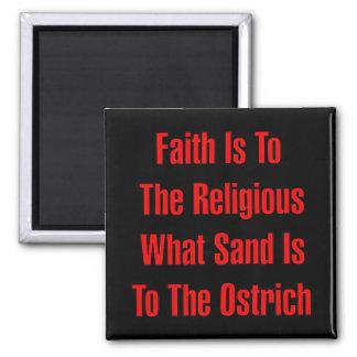 Religión de la avestruz imán cuadrado