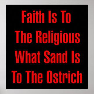 Religión de la avestruz póster