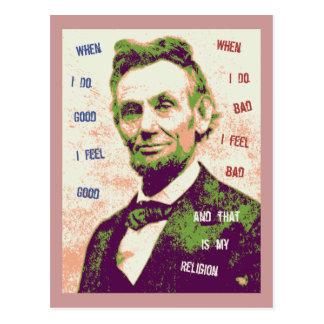 Religión de Lincoln Tarjeta Postal