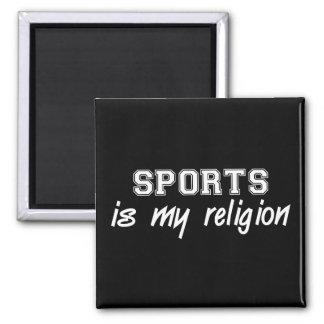 Religión de los deportes imán cuadrado
