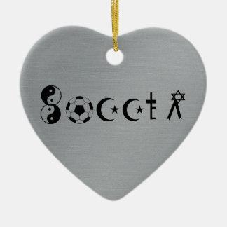 Religión del fútbol adorno de cerámica en forma de corazón