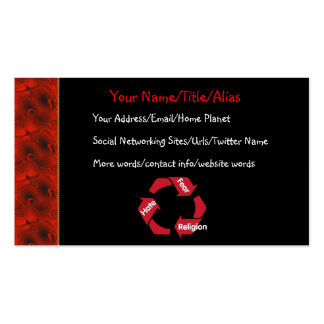 Religión del miedo del odio tarjetas de visita