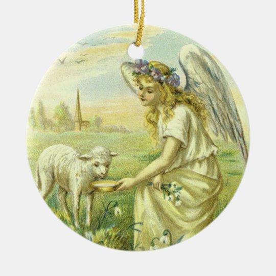 Religión del vintage, ángel de Pascua del Adorno Navideño Redondo De Cerámica