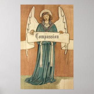Religión del vintage, ángel del Victorian con la Póster