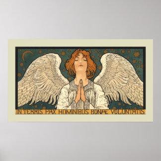 Religión del vintage, ángel que ruega con las póster