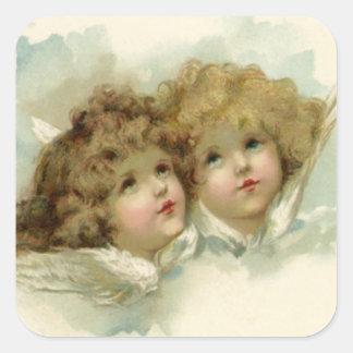 Religión del vintage, ángeles del navidad del calcomanía cuadradas