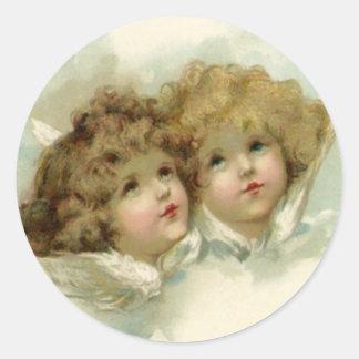 Religión del vintage, ángeles del navidad del pegatina redonda