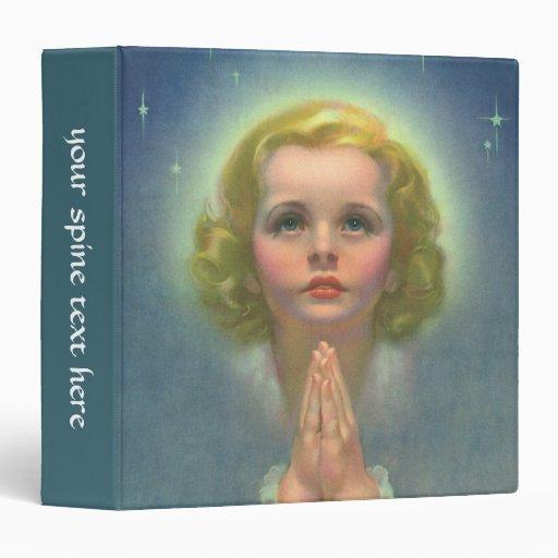 """Religión del vintage, chica angelical con la carpeta 1 1/2"""""""