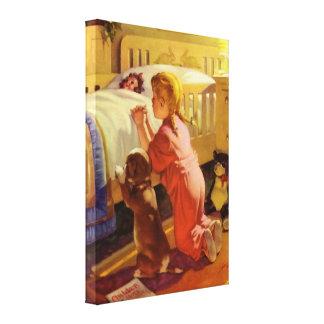 Religión del vintage, chica que ruega con el perro impresión en lona estirada