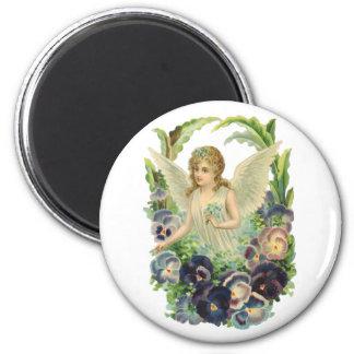 Religión del vintage, flor púrpura del pensamiento imán redondo 5 cm