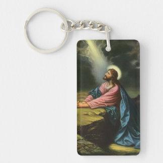 Religión del vintage, Gethsemane, rogación del Llavero Rectangular Acrílico A Doble Cara