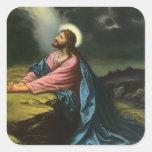 Religión del vintage, Gethsemane, rogación del Pegatina Cuadrada