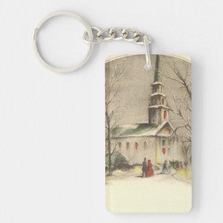 Religión del vintage, iglesia en el invierno llavero rectangular acrílico a doble cara