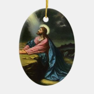 Religión del vintage, Jesucristo que ruega, Adorno Navideño Ovalado De Cerámica