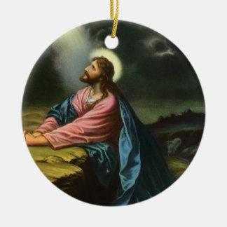 Religión del vintage, Jesucristo que ruega, Adorno Navideño Redondo De Cerámica