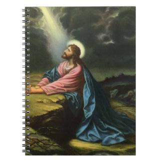 Religión del vintage Jesucristo que ruega Gethse Cuadernos
