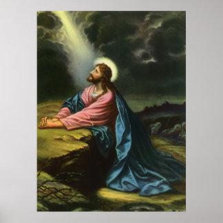 Religión del vintage Jesucristo que ruega Gethse Posters