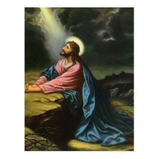 Religión del vintage Jesucristo que ruega Gethse Postal