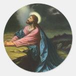 Religión del vintage, Jesucristo que ruega, Etiquetas Redondas