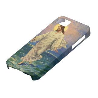 Religión del vintage, Jesús que camina en el iPhone 5 Case-Mate Cárcasas