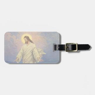 Religión del vintage, Jesús que camina en el retra Etiqueta Para Maleta
