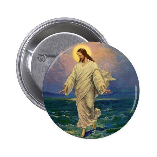 Religión del vintage, Jesús que camina en el retra Pin