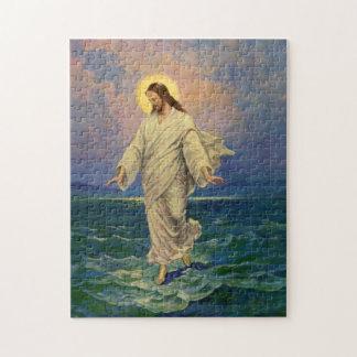Religión del vintage Jesús que camina en el retra Puzzle