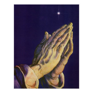 Religión del vintage manos que ruegan hacia cielo posters