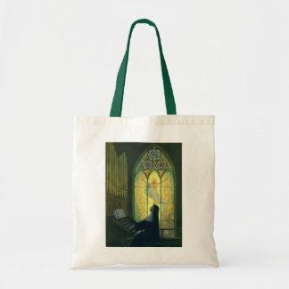 Religión del vintage, monja que juega música en bolsa tela barata