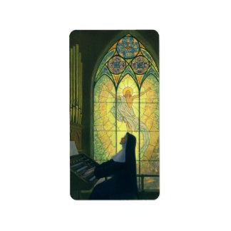 Religión del vintage, monja que juega música en etiquetas de dirección