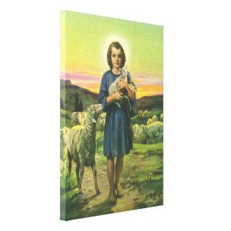 Religión del vintage, muchacho del pastor con los lona envuelta para galerias