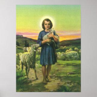 Religión del vintage, muchacho del pastor con los póster