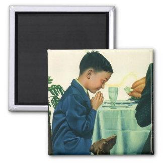 Religión del vintage, muchacho que dice tolerancia imán cuadrado