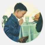 Religión del vintage, muchacho que dice tolerancia pegatina redonda