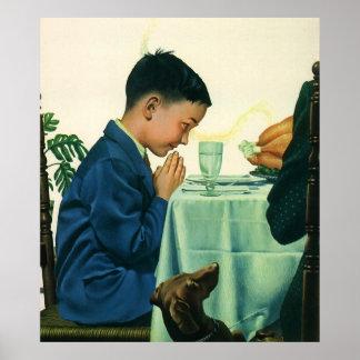 Religión del vintage, niño que dice la tolerancia, poster