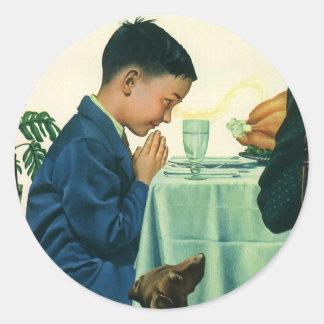Religión del vintage, niño que dice la tolerancia, pegatinas