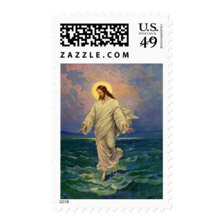 Religión del vintage, retrato de Jesús que camina Estampilla