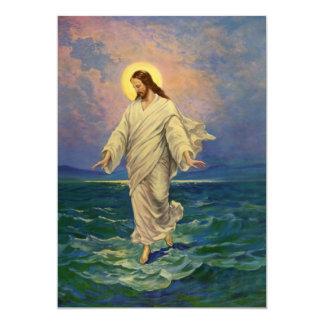 Religión del vintage, retrato de Jesús que camina Invitación 12,7 X 17,8 Cm