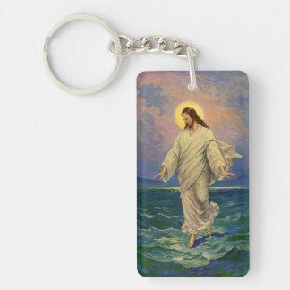 Religión del vintage, retrato de Jesús que camina Llavero Rectangular Acrílico A Doble Cara