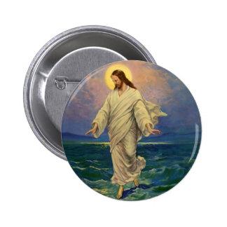 Religión del vintage, retrato de Jesús que camina Chapa Redonda 5 Cm