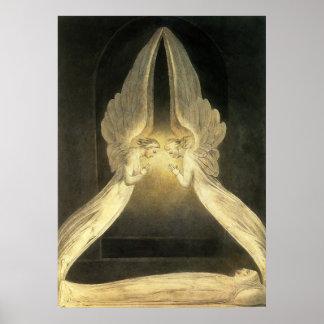 Religión del vintage, retrato de los ángeles que póster