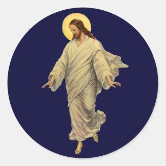 Religión del vintage, retrato del Jesucristo Pegatina Redonda