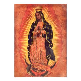 Religión del vintage señora de Guadalupe Virgen Invitaciones Personales