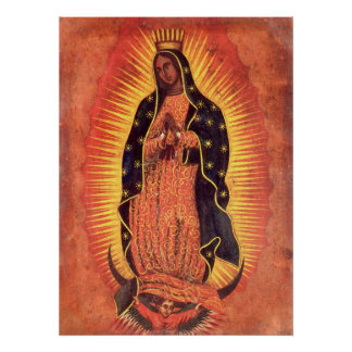 Religión del vintage, señora de Guadalupe, Virgen Poster