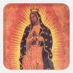 Religión del vintage, señora de Guadalupe, Virgen Calcomanías Cuadradass Personalizadas