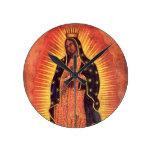 Religión del vintage, señora de Guadalupe, Virgen Reloj Redondo Mediano