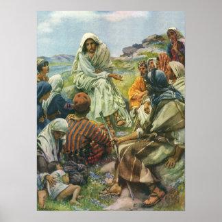 Religión del vintage, sermón de la montaña, posters