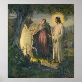 Religión del vintage, tumba subida Jesucristo de Poster